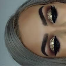 nice grey hair and gold glitter eye makeup