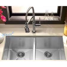 29 inch stainless steel undermount 50 50 double bowl kitchen sink zero radius design