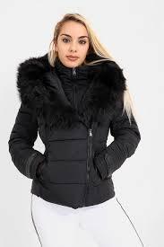 black faux fur hooded puffer coat