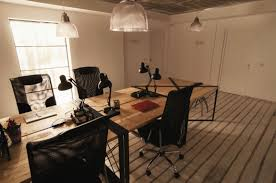diy office furniture. Cool DIY Office Desk With Four Gothic Swivel Chairs Under Suspended Lamps At Attic Area Diy Furniture T