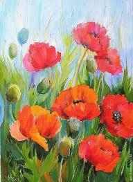 order poppies painting canvas oil 28на37cm kapustinaart livemaster