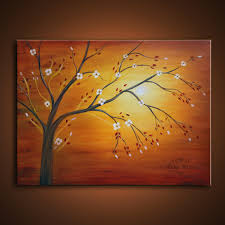 original oil painting colorful abstract landscape by colorblast contemporary modern fine art sun tree inexpensive