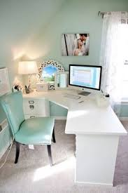 Adorable office table design astounding appearance Decoration Love The Look For This Workstation Mint Office Green Office Blue Office Decor Pinterest 300 Best Office Spaces Images Home Office Office Home Bedrooms
