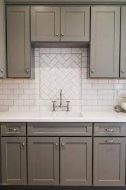 cabinets with knobs. Interesting With Gray Shaker Cabinets NICKEL KNOBS White Subway Tiles On Cabinets With Knobs Kitchen Cabinet Kings