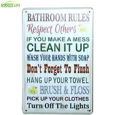 awesome inspiration bathroom rules wall art and metal tin sign bar family decor