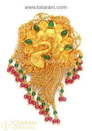 22k gold peacock pendant temple jewellery 235 gp3199