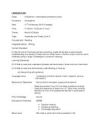 lesson plan reading year kssr lesson plan class 4 budiman intermediate proficiency level enrolment 20 students date