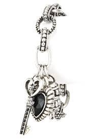 glass stone heart metal key bracelet