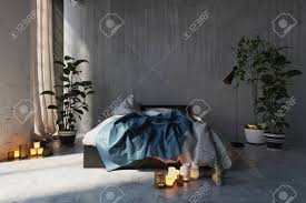 modern romantic bedroom interior. Romantic Messy Bedroom Interior With An Unmade Bed And Glowing Candles On The Floor In A Modern