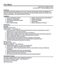 Resume Templates Babysitter Objectives Examplesumes For Babysitters