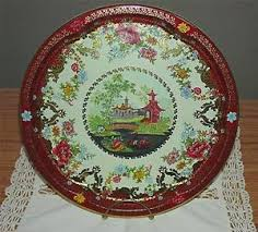 Daher Decorated Ware 11101 Tray VTG 100's DAHER DECORATED WARE 100100 ASIAN FLORAL DESIGN TIN TRAY 38