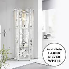 home glass display cabinet corner white