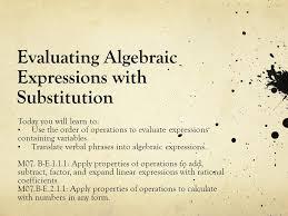 1 evaluating algebraic expressions