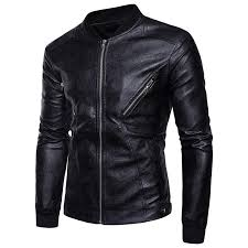 men pu leather jacket 2018 spring autumn new zipper design fashion pure color male casual motorcycle