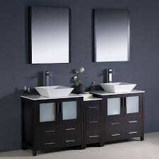 double vessel sink vanity. Fresca Torino Espresso Double Sink Vanity With White Ceramic Top (Common: 72-in Vessel H