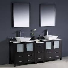 fresca torino espresso double sink vanity with white ceramic top common 72 in