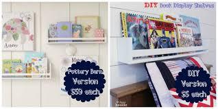 diy book display wall shelves pb kids