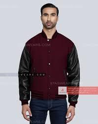 dark maroon jock jacket mens front