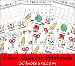 Free Printable School Calendar Free School Calendar Printables 3 Dinosaurs