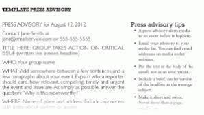 Media Advisory Press Advisory Template