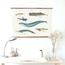 modern fresh ocean coastal aquatic whale painting wooden poster hanger wall decorative frame scroll hang diy wooden poster hanger