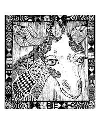 Small Picture Free coloring page coloring adult africa giraffe head Adults