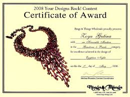 Honorable Mention Certificate 2008 Gemstone And Beaded Jewelry Contest Honorable Mention