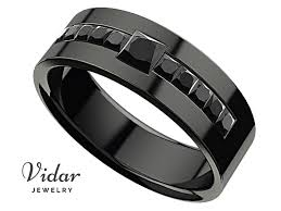 men s princess black diamond black gold wedding ring
