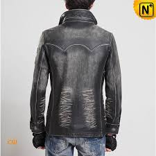 distressed leather jacket mens