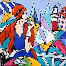 KRIS MILVY Tableau Art Déco marine voiliers portrait femme ...