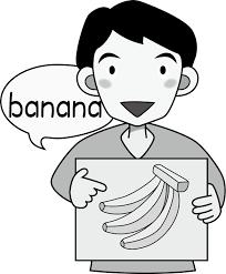 イラストポップ 学校のイラスト 英語no04バナナの描かれたカードを持っ