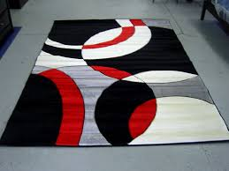 modern red black white pile cut design 5x8 area rug carpet new within and rugs idea 1