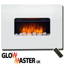 wall mounted fire electric fireplace flicker flame white mdf surround widescreen
