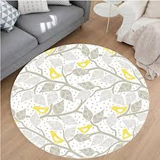 nalahome modern flannel microfiber non slip machine washable round area rug branch with pastel colored leaves on dotted background nature art home yellow