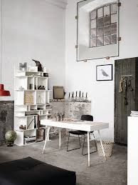 office table ideas. Office:White Industrial Home Office With White Table And Modern Shelves Satisfying Ideas