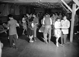 best wwii ese interment images ese   ese americans removed from their los angeles homes attend a dance at the government s camp at