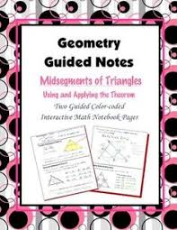 geometry guided interactive math notebook page midsegments of triangles