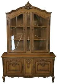 china cabinet louis xv vintage french rococo 1950 oak wood glass doors for