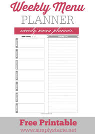 Weekly Menu Weekly Menu Planner Printable - Simply Stacie