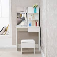Corner Dressing Table Design Tukailai White Dressing Table With Stool And Mirror Set