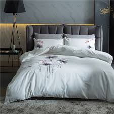 2017 luxury cotton linens bedding set bamboo leaf embroidery bed set king queen bed linens duvet cover bed sheet in bedding sets from home garden on