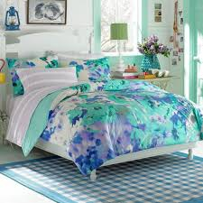 Kids Furniture, Teen Bed Set Girls Bedding Sets Watercolors Puff Blue And  Green With Lamp