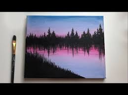 easy forest acrylic painting for