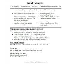 dance teacher resume