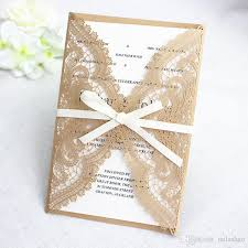Precisely Lace Laser Cutting Shiny Wedding Invitation Gold Country