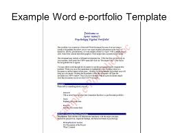 Research Portfolio Template Benefits Of The E Portfolio Multiple Examples Of Work Over