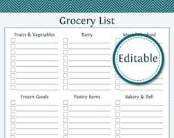 grocery checklist shopping list etsy