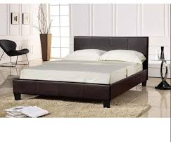 prado faux leather brown double bed