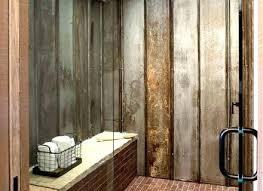 corrugated metal bathroom walls wide plank pine flooring shower tub