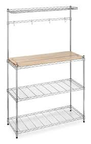 industrial kitchen design with whitmor maple wood top bakers rack polished chrome wire mesh